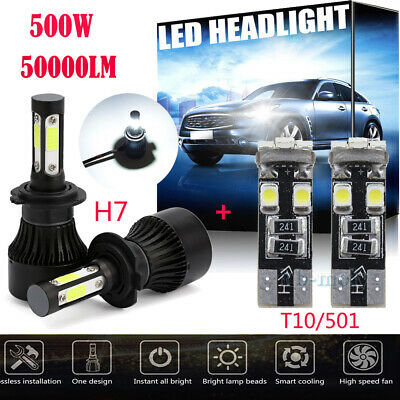 For VW Crafter 2006-2016 Side/Lo/Hi Beam 501 H7 500W 50000LM LED Headlight Bulbs
