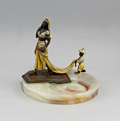 Figural Onyx shell Bronze Oriental woman with Mohr 9937728