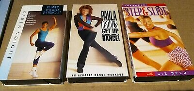 Workout Video Lot 3 VHS Tapes Mixed Shows PAULA ABDUL's Aerobic Liz Dyer & Voit