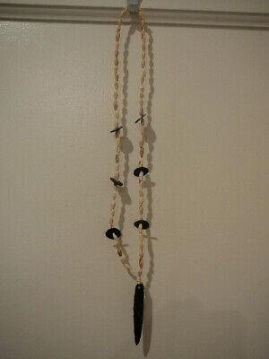 S25 Native American Indian Obsidian Shell Necklace