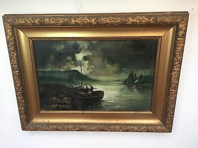 19th Century Seascape Oil Painting with Fishing Boats. Antique Gilt Gesso Frame