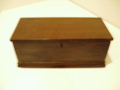 S20 ANTIQUE WOODEN 19th C DOLL CHILD MINIATURE BLANKET CHEST BOX WITH TILL