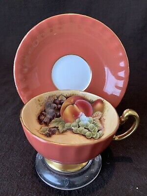 Aynsley Orange Gold Orchard Fruit Tea Cup & Saucer Gold Trim Peach Grapes Pear