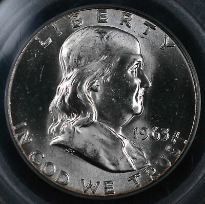 1963 50C Franklin Half Dollar Uncirculated - PCGS MS 64