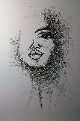 """Original Pen And Ink Continuous Line Drawing Of """" Woman's Face"""""""