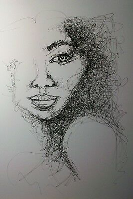 """Original Pen And Ink Continuous Line Drawing Of """" Woman's Face"""" #2"""