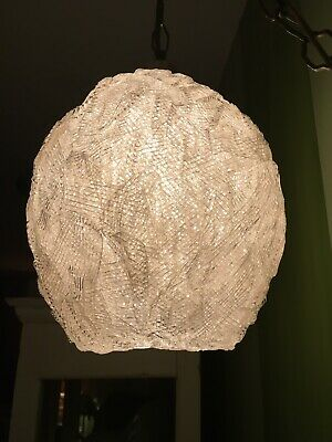 Vintage Mid Century Spaghetti Lamp Hanging Swag Light Lucite Clear White Shade#2