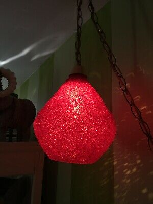 Vintage Mid Century Spaghetti Strap Lamp Hanging Swag Light Lucite Red Shade #2