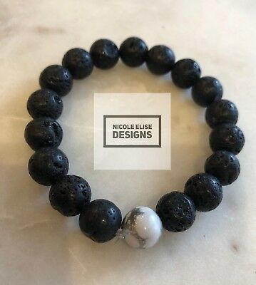 Aromatherapy diffuser bracelet lava stones with one white howlite 10mm anxiety