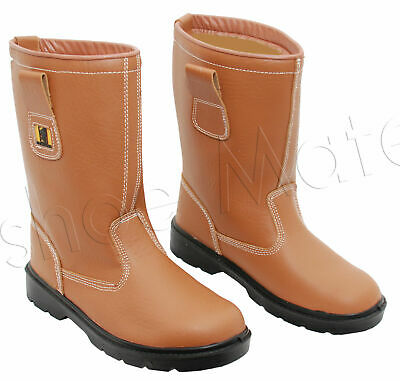 New Mens Leather Midsole Fur Lined Rigger Steel Toe Cap Safety Work Boots Shoes