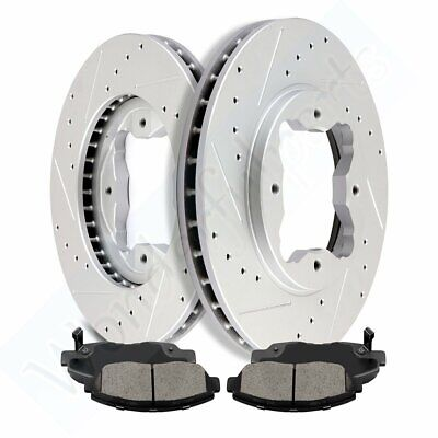 Front Drilled And Slotted Brake Rotors /& Ceramic Pads Fits Acura CL Honda Accord