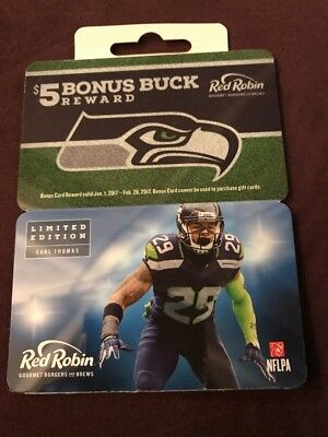 Seattle Seahawks 2016 Earl Thomas Red Robin Collectible Gift Card $0 Value