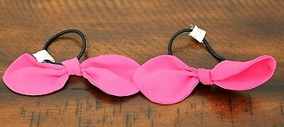 American Girl Doll HOT PINK HAIR BOW SET Store Exclusive Ties Ponytail Holder
