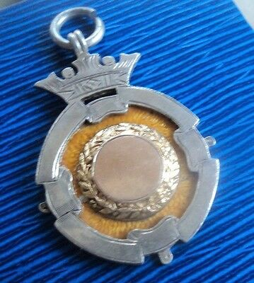 RARE Sterling Silver & Gold Enamel Fob Medal h/m 1907 Birmingham - not engraved