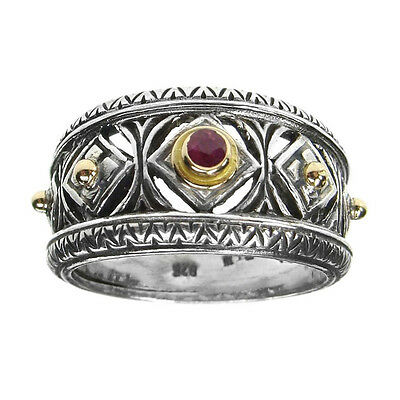 Gerochristo 2275 ~ Solid Gold, Sterling Silver & Ruby Stone Medieval Band Ring