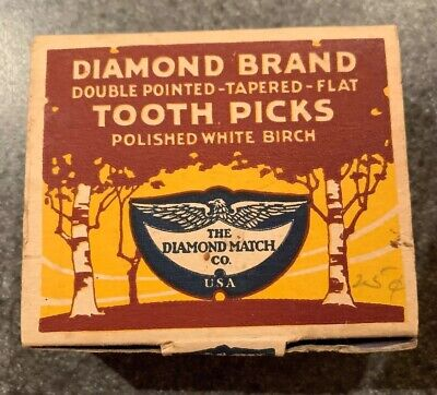 Vintage Box Of Diamond Brand Tooth Picks NOS Unopened Unused Sealed
