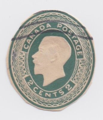 Early 1900 Canada Cutout - King George V - Green Oval 2 Cent Stamp