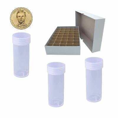 Guardhouse Grey Coin Tube Box with 40 Small Dollar DURA Clear Round coin Tubes