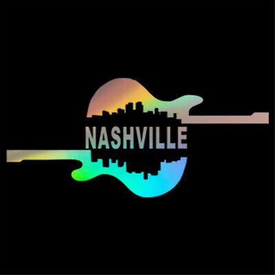 Guitar NASHVILLE Vinyl Decal Car Window Door Bumper Motorcycle Truck Sticker