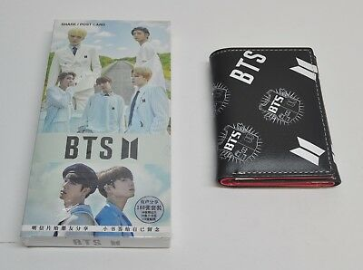 New BTS Bangtan Boys Postcards and BTS Wallet Gift Set