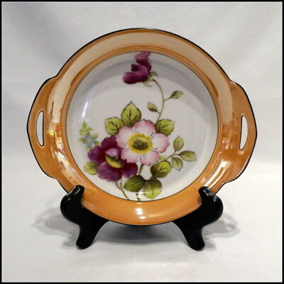 Noritake Art Deco Era Two Handle Bowl with Floral Design and Black Trim N423