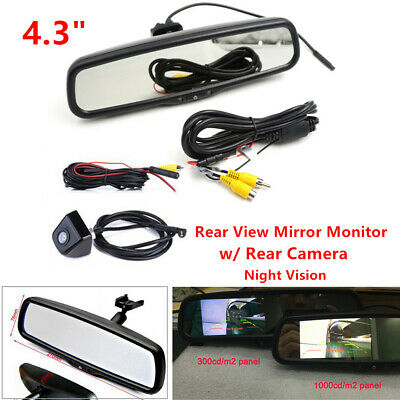 "4.3"" Auto Dimming Night vision TFT LCD Rearview Mirror Monitor +Camera Cable Kit"