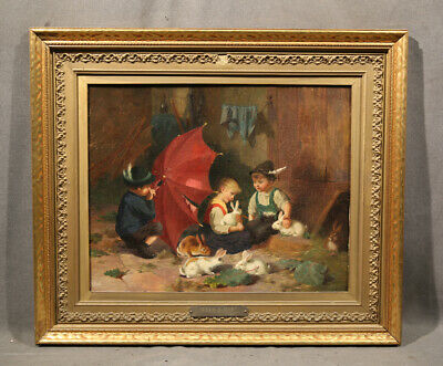 19TH CENTURY ANTIQUE European Genre Painting With Children and Rabits Bunny