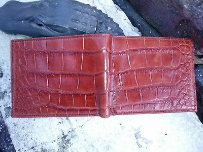 Wild Alligator Mens Bi fold Wallet croc gator swamp leather hide Peanut F7