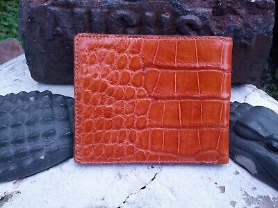 American Alligator MensBrown Bi fold Wallet croc gator swamp leather hide YK