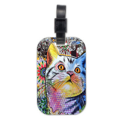 Lovely Cat Kitten Wood Travel Luggage Tag Bag Tags Accessories