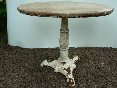 Antique Solid Wood Oval Top Cast Iron 30s Pedestal ICE CREAM PARLOR TABLE FINE!