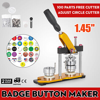 "37mm(1.45"") Button Maker Rotate Machine 100Pcs Base Pin Buttons Badge Maker AU"