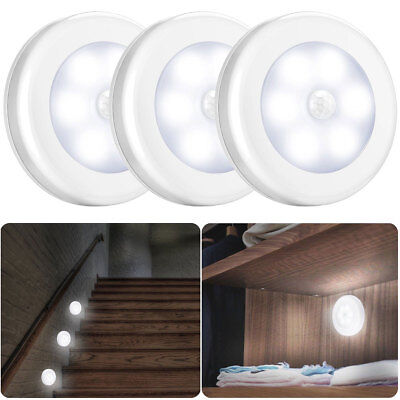3/6pack Motion LED Sensor Light Cordless Battery Power Hallway Stair Night Light