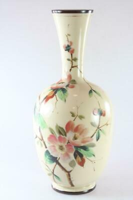Victorian Antique Milk Glass  Hand Painted Floral Vase Signed P.k.