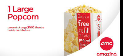 AMC Theater Coupos-1 Large Popcorn -Exp 6/30/2020 (Don't Drink if Movie is 3hrs)