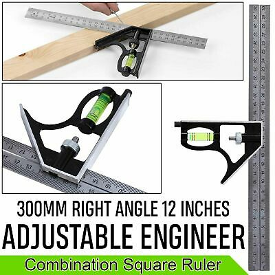 "300mm (12"") Adjustable Right Angle Ruler Engineers Combination Try Square Set"