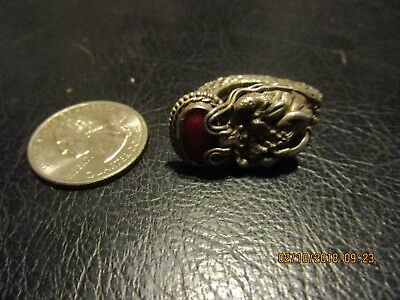 ANTIQUE ORIENTAL CHINESE STERLING SILVER CORAL DRAGON ring sz 6,5 import export