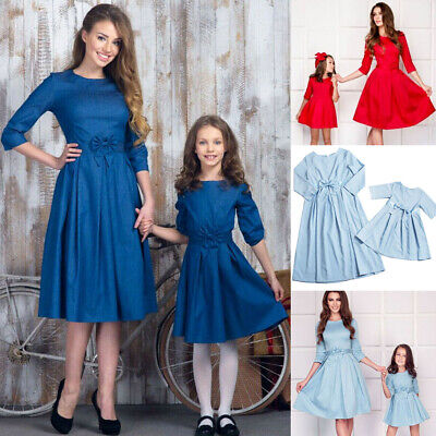 Mommy and Me Family Matching Dress Women Girl Mother Daughter Holiday Sundresses