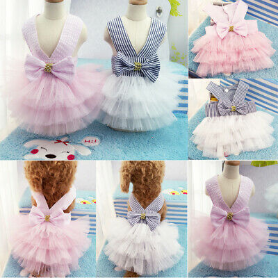 UK Pet Cat Dog Puppy Tutu Bow Skirt Dress Dog Princess Costume Apparel Clothes