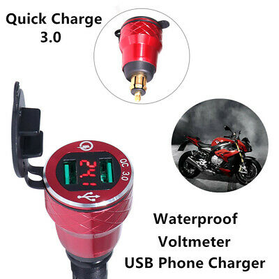 Voltmeter 2 USB Phone Charger Power Socket for Motorcycle Hella Plug Waterproof