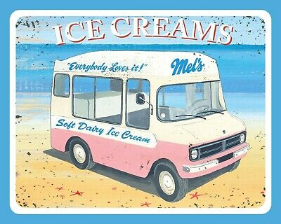 Soft Dairy Ice Cream Van 99 Cone Lolly Seaside Holiday Metal Sign Tin Plaque 484