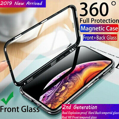 For iPhone Xs Max XR 7 8 Plus Magnetic Absorption Back+Front Tempered Glass Case