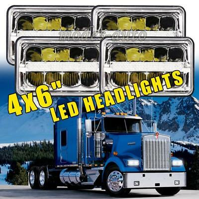 """4Pcs DOT Approved 4x6"""" CREE LED Headlights For Peterbilt Kenworth Freightliner"""