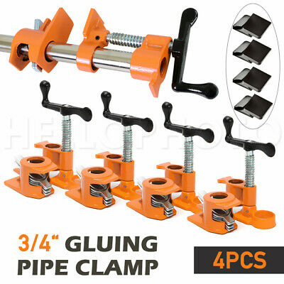 3/4'' Gluing Pipe Clamp 4 Pcs Heavy Duty WOODWORKING VICE TOOLS Wide Protect Pad
