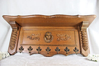 Antique Flemish wood oak carved coat rack wall putti heads 1930