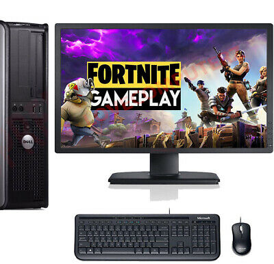 Fast Gaming Dell Bundle Tower Pc Full Set Computer System Intel 8Gb 1Tb Gt710
