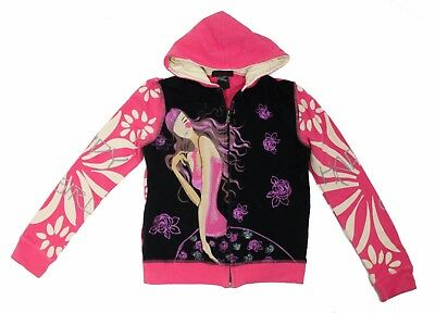 Custco Girls Pink Black Happy Girl Zip Up Hoodie Jacket