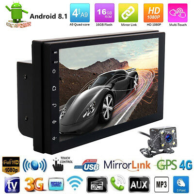 Android8.1 WiFi 2Din 7in HD Quad Core GPS Navi Car Stereo MP5 Player FM Radio
