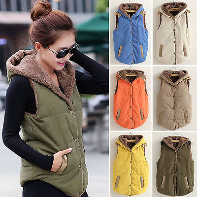 Womens Ladies Sleeveless Hooded Quilted Gilet Vest Body Warmer Button Waistcoat