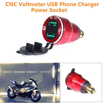 QC 3.0 Dual USB Red Voltmeter Phone Charger Power Socket Motorcycle Hella Plug